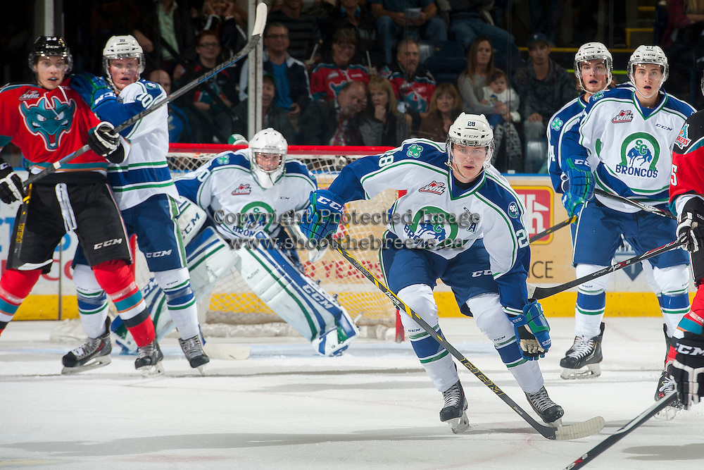 KELOWNA, CANADA - OCTOBER 7: Coda Gordon #28 of Swift Current Broncos watches the puck in front of the net during the first period on October 7, 2014 at Prospera Place in Kelowna, British Columbia, Canada.  (Photo by Marissa Baecker/Getty Images)  *** Local Caption *** Coda Gordon;