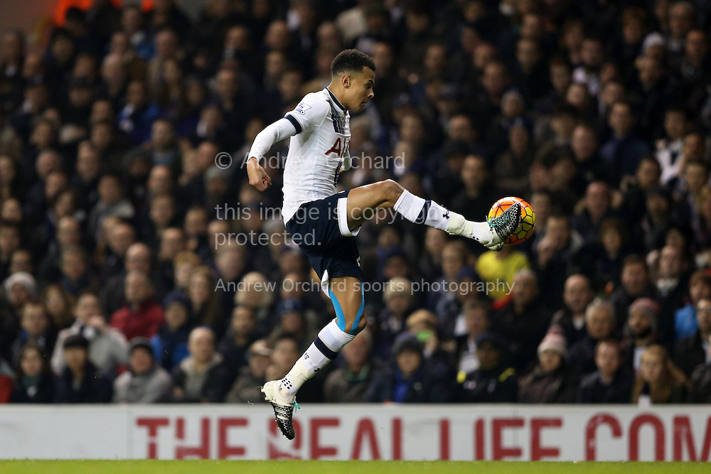 Dele Alli of Tottenham Hotspur controlling the  ball in mid air. Barclays Premier league match, Tottenham Hotspur v Newcastle Utd at White Hart Lane in London on Sunday 13th December 2015.<br /> pic by John Patrick Fletcher, Andrew Orchard sports photography.