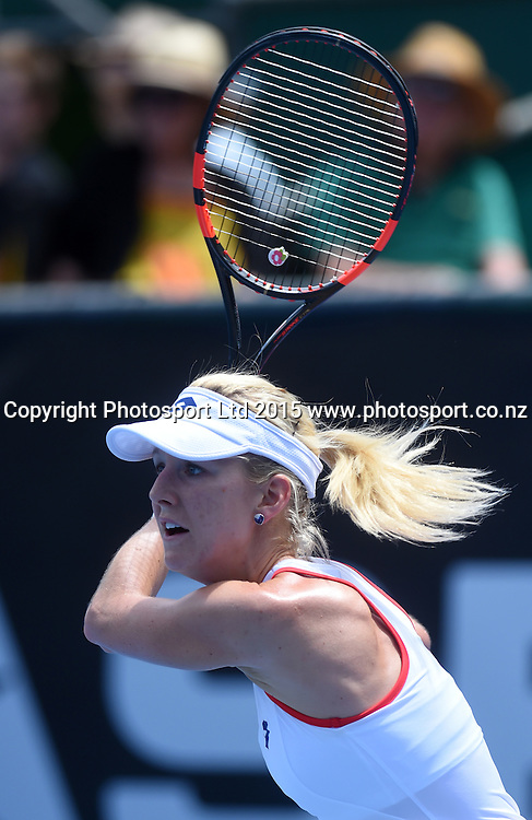 Poland's Urszula Radwanska in action during her first round singles match on Day 2 at the ASB Classic WTA International. Auckland, New Zealand. Tuesday 6 January 2015. Copyright photo: Andrew Cornaga/www.photosport.co.nz