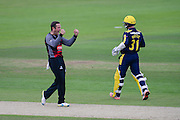 Roelof van der Merwe of Somerset celebrates the wicket of Adam Wheater of Hampshire during the Royal London One Day Cup match between Hampshire County Cricket Club and Somerset County Cricket Club at the Ageas Bowl, Southampton, United Kingdom on 2 August 2016. Photo by David Vokes.