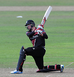 Somerset's Jamie Overton sweeps - Photo mandatory by-line: Harry Trump/JMP - Mobile: 07966 386802 - 31/07/15 - SPORT - CRICKET - Somerset v Worcestershire- Royal London One Day Cup - The County Ground, Taunton, England.