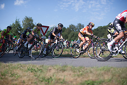 Evelyn Stevens (USA) of Boels-Dolmans Cycling Team leans into a corner in the third lap of the 121.5 km road race of the UCI Women's World Tour's 2016 Grand Prix Plouay women's road cycling race on August 27, 2016 in Plouay, France. (Photo by Balint Hamvas/Velofocus)
