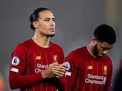 WOLVERHAMPTON, ENGLAND - Thursday, January 23, 2020: Liverpool's Virgil van Dijk and Joe Gomez before the FA Premier League match between Wolverhampton Wanderers FC and Liverpool FC at Molineux Stadium. (Pic by David Rawcliffe/Propaganda)