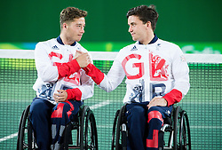 Second placed Gordon Reid and Alfie Hewett of the UK at Victory ceremony after the Tennis Men's Doubles Gold Medal Match during Day 8 of the Rio 2016 Summer Paralympics Games on September 15, 2016 in Olympic Tennis Centre, Rio de Janeiro, Brazil. Photo by Vid Ponikvar / Sportida