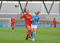 MANCHESTER, ENGLAND - Sunday, August 30, 2015: Liverpool's Katie Zelem and Manchester City's Keira Walsh during the League Cup Group 2 match at the Academy Stadium. (Pic by Paul Currie/Propaganda)