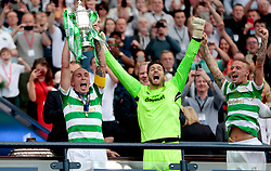 Celtic's Scott Brown lifts the trophy after winning the William Hill Scottish Cup Final at Hampden Park, Glasgow.