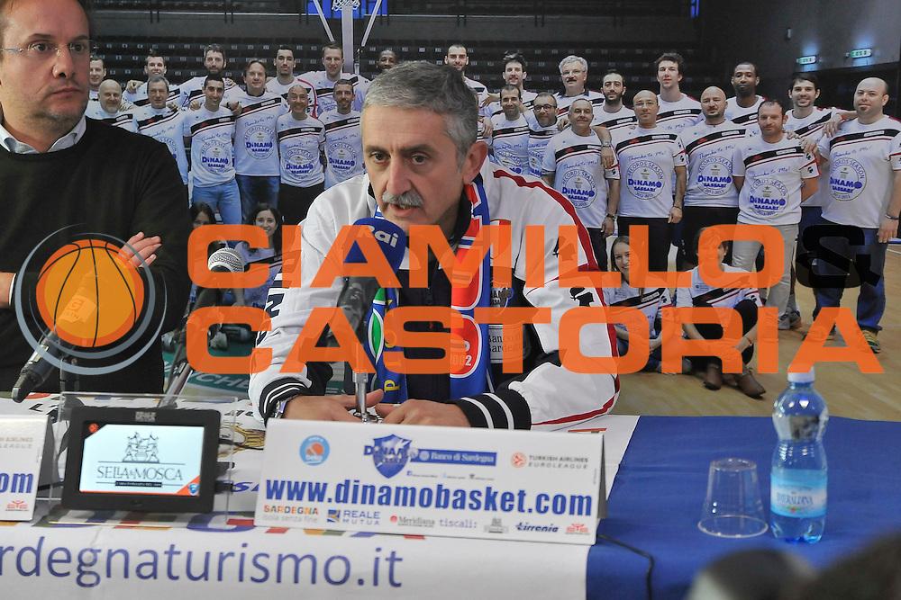 SASSARI 24 Novembre 2015<br /> Presentazione Marco Calvani Dinamo Banco di Sardegna Sassari<br /> NELLA FOTO Marco Calvani Federico Pasquini<br /> FOTO CIAMILLO
