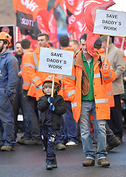 Workers and their families marched down the Royal Mile in Edinburgh to ask for support in saving their jobs at the closure-threatened Burntisland Fabrications yards in Fife Stornoway. They then held a rally outside the Scottish Parliament.<br /> <br /> © Dave Johnston/ EEm