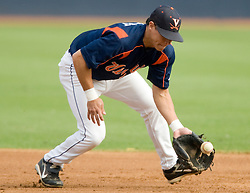 Virginia Cavaliers INF Greg Miclat (2)..The Virginia Cavaliers baseball team held a seven game Orange and Blue World Series at Davenport Field in Charlottesville, VA.  Images are from Game 6 held on October 22, 2007.