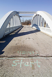 Bush Creek Marsh Arch Rainbow Bridge on Old Route 66 Riverton, Kansas. View South. Bridge Deck, Concrete Arches and Start Stop Line for Road Races, legend has it.