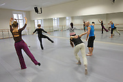 Universities in Vienna, Austria..Konservatorium Wien Privatuniversität..Ballett class. The teacher (blue t-shirt).