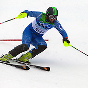 Winter Olympics, Vancouver, 2010. Hossein Saveh Shemshaki, Iran, in action during the Alpine Skiing, Men's Slalom at Whistler Creekside, Whistler, during the Vancouver Winter Olympics. 27th February 2010. Photo Tim Clayton