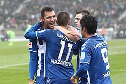 23.11.2014, Wildparkstadion, Karlsruhe, GER, 2. FBL, Karlsruher SC vs FC Erzgebirge Aue, 14. Runde, im Bild Dimitrij Nazarov (Karlsruher SC) bejubelt seinen Treffer zum 1-0 mit Daniel Gordon (Karlsruher SC) und Hiroki Yamada (Karlsruher SC) // during the 2nd German Bundesliga 14th round match between Karlsruher SC and FC Erzgebirge Aue at the Wildparkstadion in Karlsruhe, Germany on 2014/11/23. EXPA Pictures © 2014, PhotoCredit: EXPA/ Eibner-Pressefoto/ Bermel<br /> <br /> *****ATTENTION - OUT of GER*****