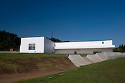 Photo shows the Aomori Museum of Art in Aomori City, Aomori Prefecture, Japan on 11 July, 2001. The building was designed by Jun Aoki, the inspiration coming from the nearby Sannai Maruyama archeological site. .Photographer: Robert Gilhooly