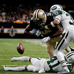 Dec 17, 2017; New Orleans, LA, USA; New York Jets strong safety Jamal Adams (33) forces a fumble by New Orleans Saints wide receiver Brandon Coleman (16) during the second half at the Mercedes-Benz Superdome. The Saints defeated the Jets 31-19. Mandatory Credit: Derick E. Hingle-USA TODAY Sports