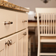 A detail photo of kitchen cabinets