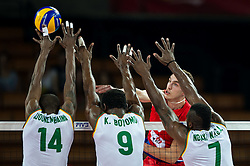 07.09.2014, Centennial Hall, Breslau, POL, FIVB WM, Serbien vs Kamerun, Gruppe A, im Bild Nathan Wounembaina cameroon #14 Joseph Herve Kofane Boyomo cameroon #9 Marko Ivovic serbia #3 Jean Patrice Ndaki Mboulet cameroon #7 // Nathan Wounembaina cameroon #14 Joseph Herve Kofane Boyomo cameroon #9 Marko Ivovic serbia #3 Jean Patrice Ndaki Mboulet cameroon #7 // during the FIVB Volleyball Men's World Championships Pool A Match beween Serbia and Cameroon at the Centennial Hall in Breslau, Poland on 2014/09/07. <br /> <br /> ***NETHERLANDS ONLY***