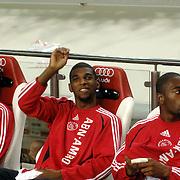 NLD/Amsterdam/20060928 - Voetbal, Uefa Cup voorronde 2006, Ajax - IK Start, reservebank met oa Ryan Babel