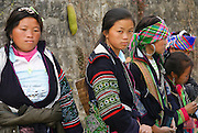 Vietnam, Sapa Market, Black Hmong women in traditional dress