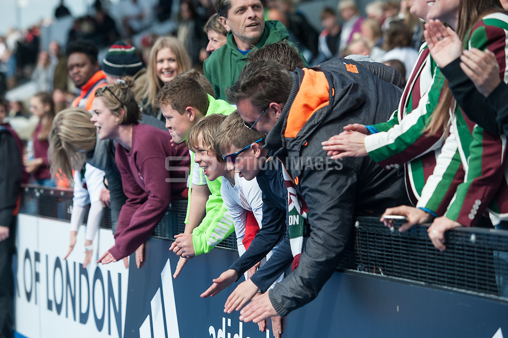 Surbiton supporters. Wimbledon v Surbiton - Men's Hockey League Final, Lee Valley Hockey & Tennis Centre, London, UK on 23 April 2017. Photo: Simon Parker