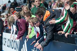 Surbiton supporters. Wimbledon v Surbiton - Men's Hockey League Final, Lee Valley Hockey & Tennis Centre, London, UK on 23 April 2017. Photo: Simon Parker
