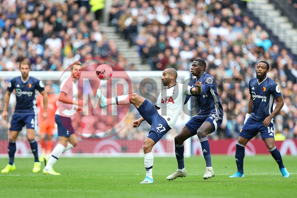 Lucas of Tottenham Hotspur controls the ball under pressure - Mandatory by-line: Arron Gent/JMP - 19/10/2019 - FOOTBALL - Tottenham Hotspur Stadium - London, England - Tottenham Hotspur v Watford - Premier League