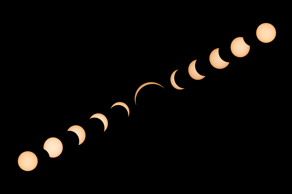 A solar eclipse reached 93% totality on August 21st, 2017 in Helena, Montana.