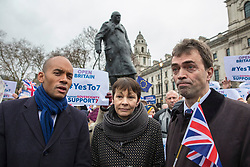 © Licensed to London News Pictures. 13/12/2017. London, UK. Chuka Umunna MP (L), Caroline Lucas MP (C) and Tom Brake MP (R) join a rally in support of Amendment 7 to the EU Withdrawal Bill. Photo credit: Rob Pinney/LNP
