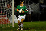 19 NOV. 2020 -- FENTON, Mo. -- St. John Vianney High School soccer goalie Sam Haseltine looks to advance the ball after making a stop against St. Louis University High School during the MSHSA Class 3 state soccer semifinal at the A-B Center in Fenton, Mo. Friday, Nov. 19, 2010. Vianney topped SLUH 2-0 to advance to the state title game on Saturday. Image © copyright 2010 Sid Hastings.