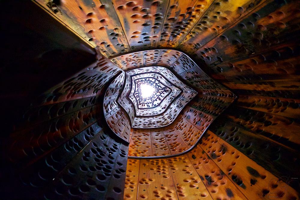 Looking inside John Grade's Wawona sculpture.