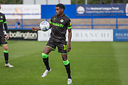 Forest Green Rovers Reece Brown(10) controls the ball during the EFL Sky Bet League 2 match between Macclesfield Town and Forest Green Rovers at Moss Rose, Macclesfield, United Kingdom on 29 September 2018.