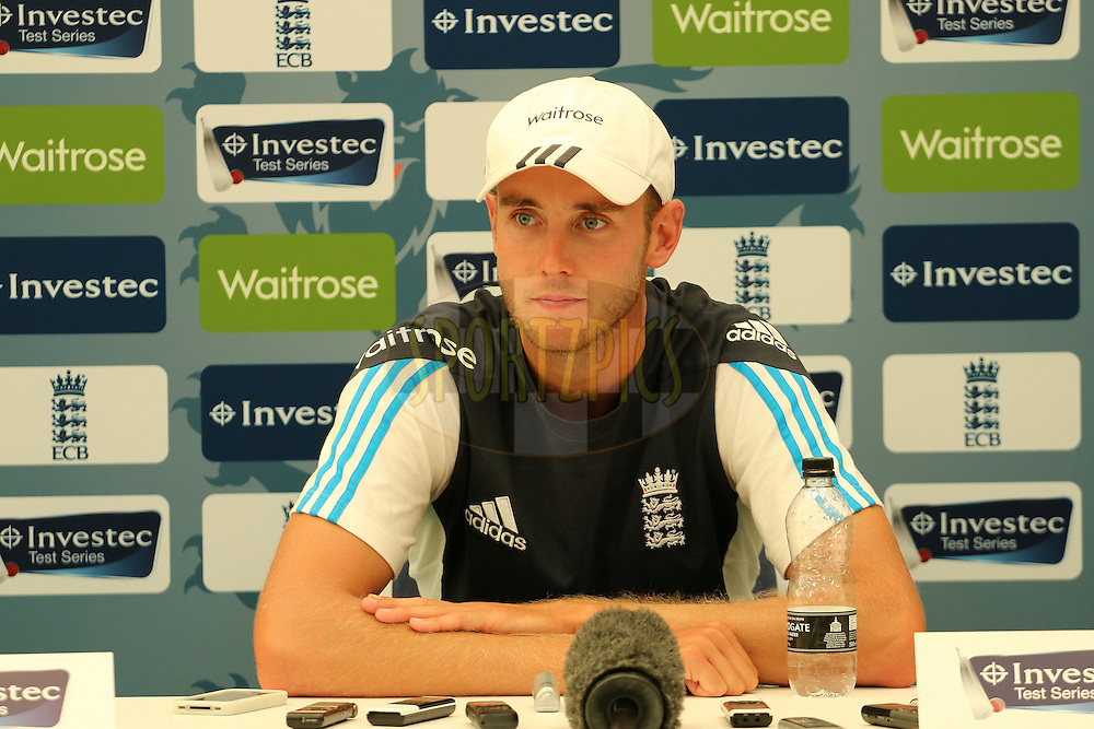 Stuart Broad of England addresses the media during day three of the third Investec Test Match between England and India held at The Ageas Bowl cricket ground in Southampton, England on the 29th July 2014<br /> <br /> Photo by Ron Gaunt / SPORTZPICS/ BCCI