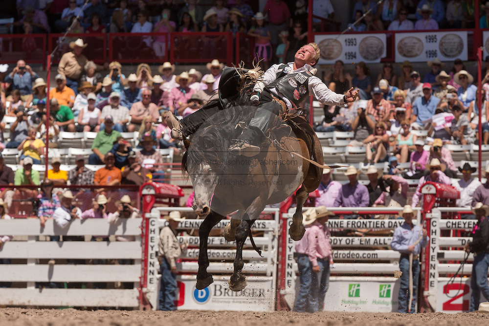 A bronco rider hangs on during Bareback Riding at the Cheyenne Frontier Days rodeo at Frontier Park Arena July 23, 2015 in Cheyenne, Wyoming. Frontier Days celebrates the cowboy traditions of the west with a rodeo, parade and fair.