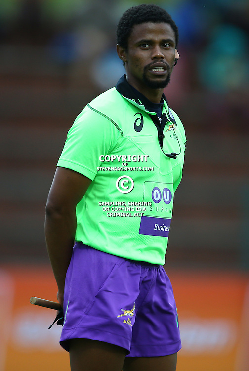 DURBAN, SOUTH AFRICA - APRIL 23: Assistant Referee Vusi Msibi during the Provincial Cup match between Cell C Sharks XV and Windhoek Draught Welwitschias at King Zwelithini Stadium on April 23, 2016 in Durban, South Africa. (Photo by Steve Haag/Gallo Images)
