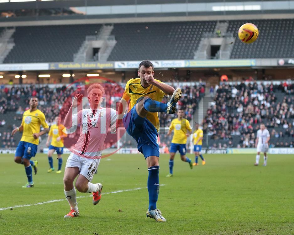 Coventry City's Daniel Seaborne clears the ball - Photo mandatory by-line: Nigel Pitts-Drake/JMP - Tel: Mobile: 07966 386802 30/11/2013 - SPORT - Football - Milton Keynes - Stadium mk - MK Dons v Coventry City - Sky Bet League One
