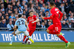 James Milner of Liverpool is challenged by Gael Clichy of Manchester City - Mandatory byline: Rogan Thomson/JMP - 28/02/2016 - FOOTBALL - Wembley Stadium - London, England - Liverpool v Manchester City - Capital One Cup Final.