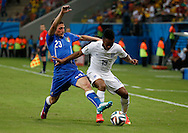 Raheem Sterlig tussles with Marco Verratti of England and y of Italy during the 2014 FIFA World Cup match at Arena da Amazonia, Manaus<br /> Picture by Andrew Tobin/Focus Images Ltd +44 7710 761829<br /> 14/06/2014