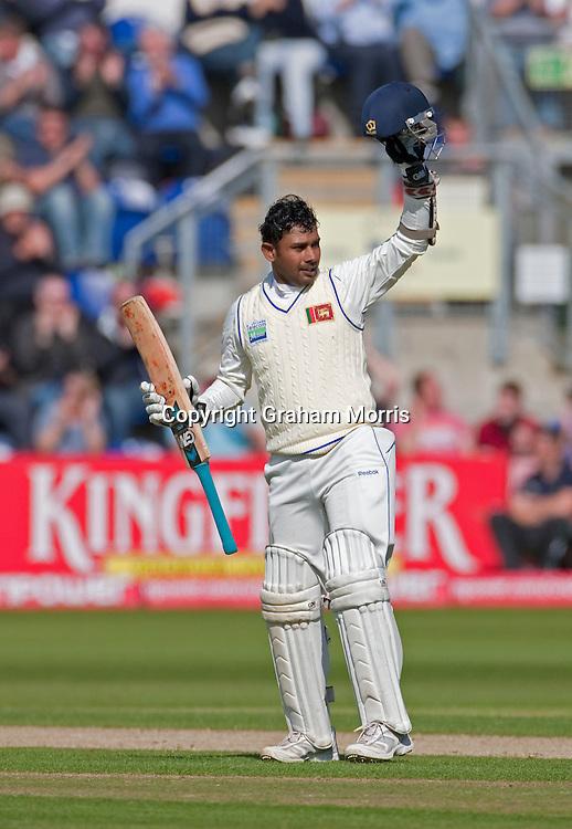 Prasanna Jayawardene celebrates his century during the first npower Test Match between England and Sri Lanka at the SWALEC Stadium, Cardiff.  Photo: Graham Morris (Tel: +44(0)20 8969 4192 Email: sales@cricketpix.com) 27/05/11