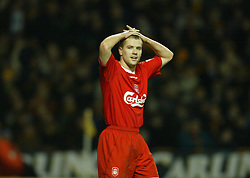 WOLVERHAMPTON, ENGLAND - Wednesday, January 21st, 2004: Liverpool's Michael Owen looks dejected after missing a chance against Wolverhampton Wanderers during the Premiership match at Molineux. (Pic by David Rawcliffe/Propaganda)