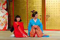 Female performers dressed in traditional geisha outfit performs on stage at this theme park devoted to Edo period Japan.