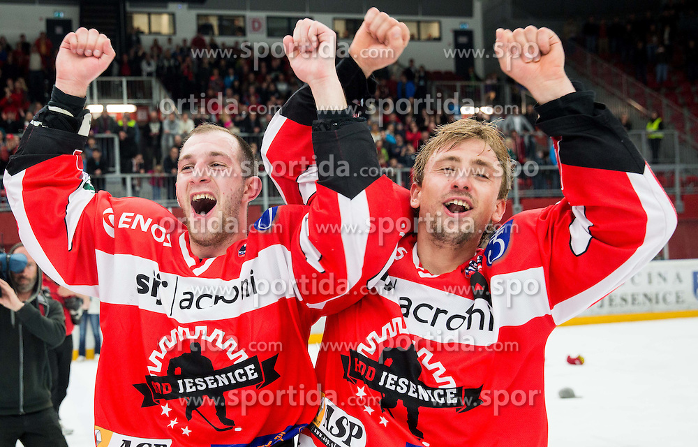 Denis Rakovic of HDD Jesenice and David Sefic of HDD Jesenice celebrate after winning during ice-hockey match between HDD SIJ Acroni Jesenice and HDD Telemach Olimpija in 4th leg of Finals of Slovenian National Championship 2014/15 and became Slovenian Champions 2015, on April 15, 2015 in Arena Podmezakla, Jesenice, Slovenia. Photo by Vid Ponikvar / Sportida