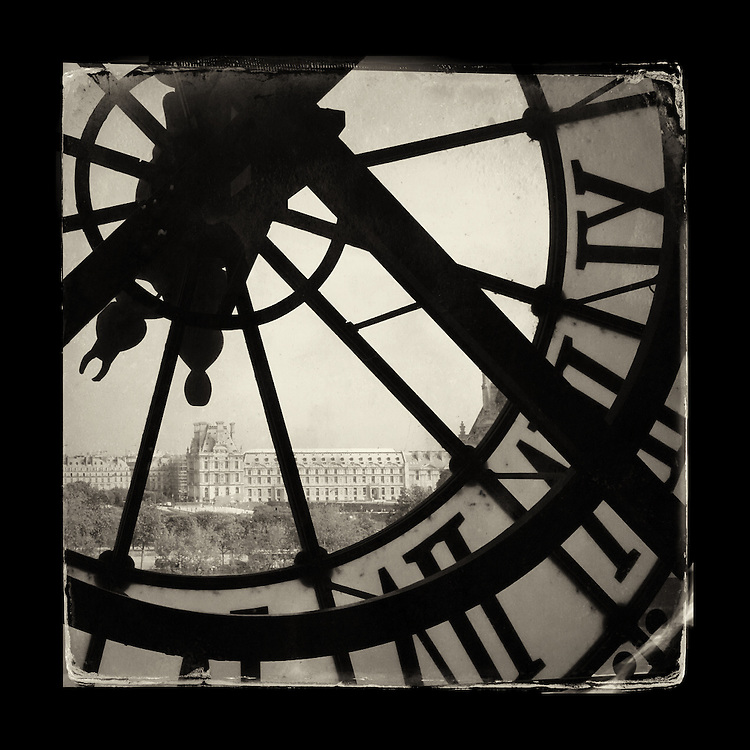 "Charles Blackburn image of the Louvre from the Musee d'Orsay in Paris. 5x5"" print."