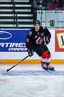 KAMLOOPS, CANADA - NOVEMBER 5:  Josh Brook #2 of Team WHL (Moose Jaw Warriors) warms up against the Team Russia on November 5, 2018 at Sandman Centre in Kamloops, British Columbia, Canada.  (Photo by Marissa Baecker/Shoot the Breeze)