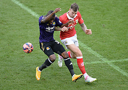 West Ham's Enner Valencia wins the ball from Bristol City's Aden Flint - Photo mandatory by-line: Alex James/JMP - Mobile: 07966 386802 - 25/01/2015 - SPORT - Football - Bristol - Ashton Gate - Bristol City v West Ham United - FA Cup Fourth Round