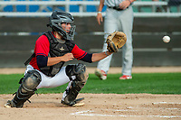 KELOWNA, BC - JULY 06:  Catcher Ezra Samperi #1 of the Kelowna Falcons catches the ball at home plate against the Walla Walla Sweets at Elks Stadium on July 6, 2019 in Kelowna, Canada. (Photo by Marissa Baecker/Shoot the Breeze)