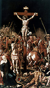 Golgotha (Calvary). Central panel of a triptych.  Christ on cross, soldier putting lance into his side to ensure he is dead.  Maerten van Heemskerck (1498-1574).