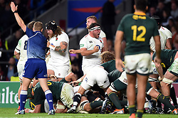 Jamie George of England celebrates as England are awarded a penalty at a scum - Mandatory byline: Patrick Khachfe/JMP - 07966 386802 - 03/11/2018 - RUGBY UNION - Twickenham Stadium - London, England - England v South Africa - Quilter International