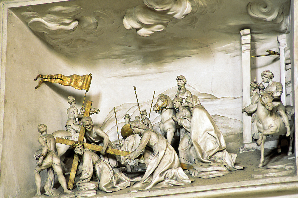 Stucco detail. One of the Stations of the Cross by Giacomo Serpotta in the Oratorio del Rosario di Santa Zita, Palermo, Sicily