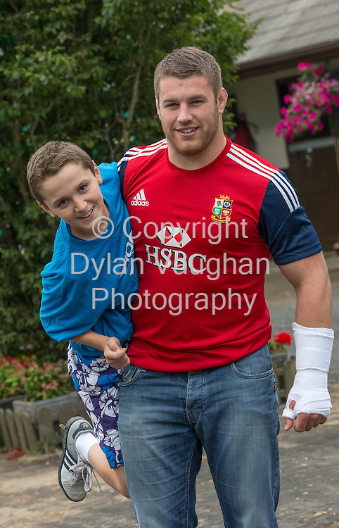 Repro free no charge for Repro<br /> <br /> 23/7/2013<br /> <br /> &lsquo;Champion Irish Jockeys Launch Fundraising Marathon&rsquo;<br /> <br /> Launched with the help of top Irish jockeys the event will help over 6,000 family carers across Kilkenny and Carlow<br /> <br />  <br /> <br /> The launch of &lsquo;Carlow Half/Mini Marathon&rsquo; took place this morning with the help of champion Irish jockeys and an Irish rugby hero. The fundraising marathon will help raise vital funds for over 6,000 family carers across Kilkenny and Carlow. The Superbowl Development in Carlow which provides sports facilities to the community will also benefit from the fundraising event. The marathon will take place on September 1st marathon and there will be a fun family day held in the Superbowl Park.<br /> <br /> Pictured at the launch was rugby star Sean O'Brien and Jason Daly aged 12 from Leighlinbridge Co. Carlow<br /> <br /> Picture Dylan Vaughan.<br /> <br /> High profile jockeys, Ruby Walsh, Patrick Mullins, Paul Townsend, David Casey and Willie Mullins along with Irish Rugby hero Sean O&rsquo;Brien came out to support the event which will raise help support the over 6,000 family carers across Carlow and Kilkenny who provide unpaid care in the home each week to frail older people, those terminally ill and with disabilities. Family carers across Ireland save the health budget over four billion euro each year at a time of mass emigration and a rapidly ageing population, the demands on family carers have never been greater.<br />  <br /> <br /> &ldquo;This fundraising event will play a vital role in the development of support &amp; services to family carers in the Carlow and Kilkenny region.  There are over 6,500 Carers registered to date and although we receive allocated funding from government it&rsquo;s not enough to sustain these vital supports particularly in light of recent cuts in funding. We would like to express our thanks to Brook Sports &amp; W.P. Mullins and volunteers J