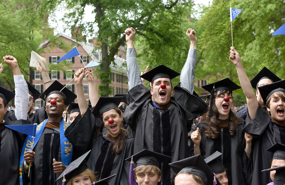May 18, 2015<br /> Yale School of Drama graduates gather on Cross Campus before their Yale Commencement, and then at Commencement on Old Campus.